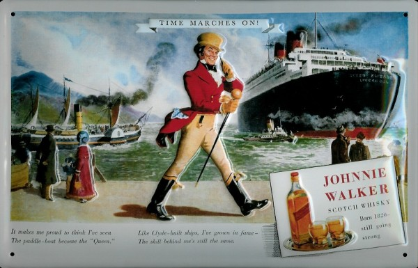 Blechschild Johnnie Walker Whisky Schiff Dampfer Kreuzfahrt Schild retro Werbeschild