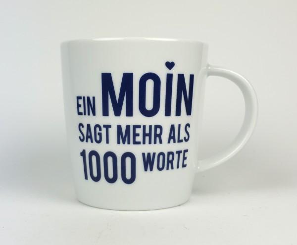 Porzellanbecher groß Ein Moin sagt mehr als 1000 Worte blau weiß Becher Kaffeebecher Teebecher