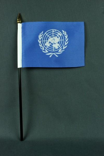 Kleine Tischflagge Uno Vereinte Nationen 10x15 cm optional mit Tischfähnchenständer