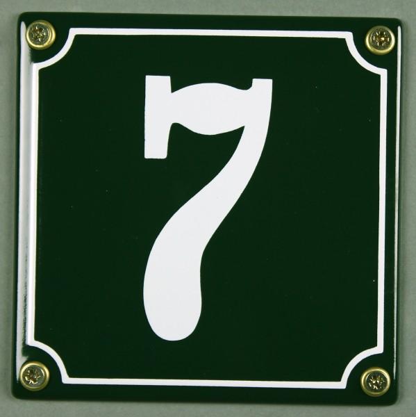 Hausnummernschild 7 grün 12x12 cm sofort lieferbar Schild Emaille Hausnummer Haus Nummer Zahl Ziffer
