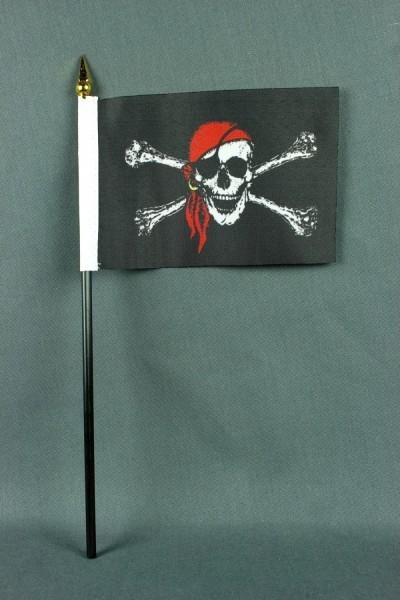 Kleine Tischflagge Pirat Piratenflagge 10x15 cm optional mit Tischfähnchenständer