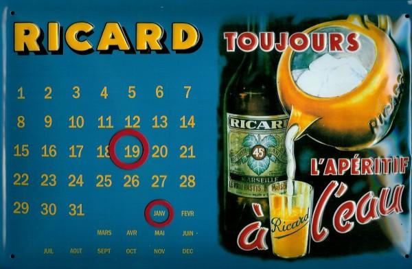 Blechschild Ricard Toujours Magnetkalender Dauerkalender Schild quer