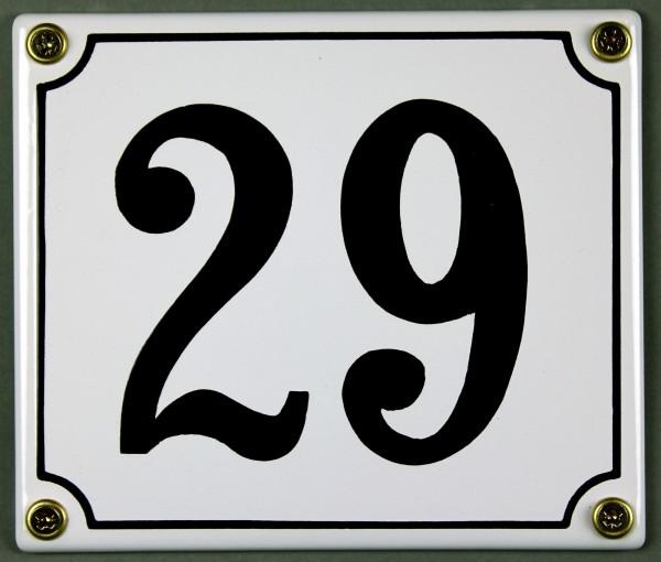 Hausnummernschild 29 weiß 12x14 cm sofort lieferbar Schild Emaille Hausnummer Haus Nummer Zahl Ziffe