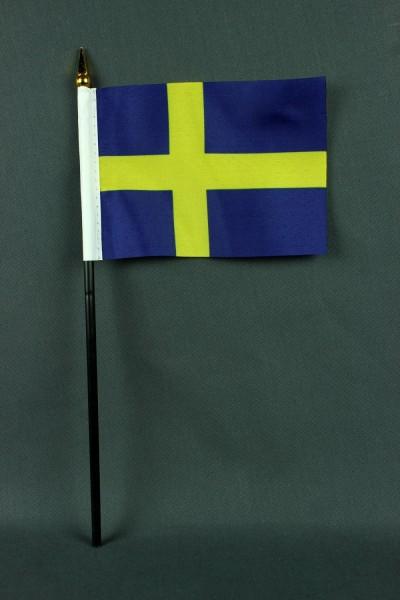 Kleine Tischflagge Schweden 10x15 cm optional mit Tischfähnchenständer