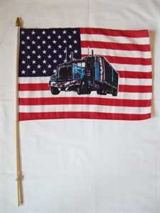Stockflagge USA Truck 30x45cm