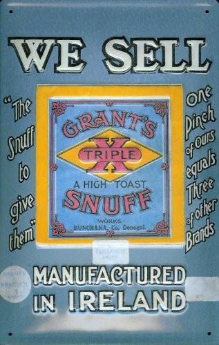 Blechschild Nostalgieschild Grant's Snuff Ireland Schnupftabak Irland