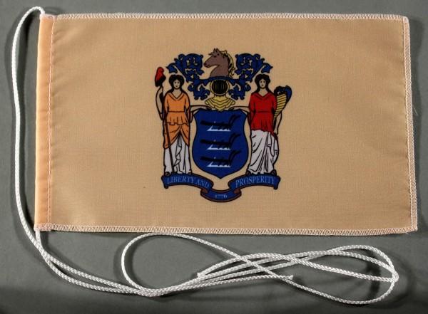 Tischflagge New Jersey USA Bundesstaat US State 25x15 cm optional mit Holz- oder Chromständer Tischf