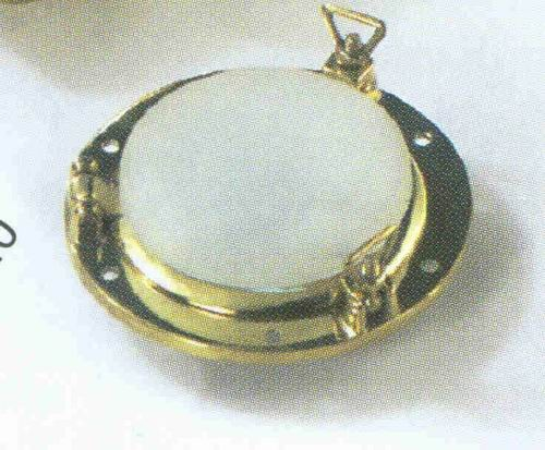 Bullaugenlampe mit 2 Korbmuttern, Messing Durchmesser 11 cm 12 Volt Halogen (CHROM)