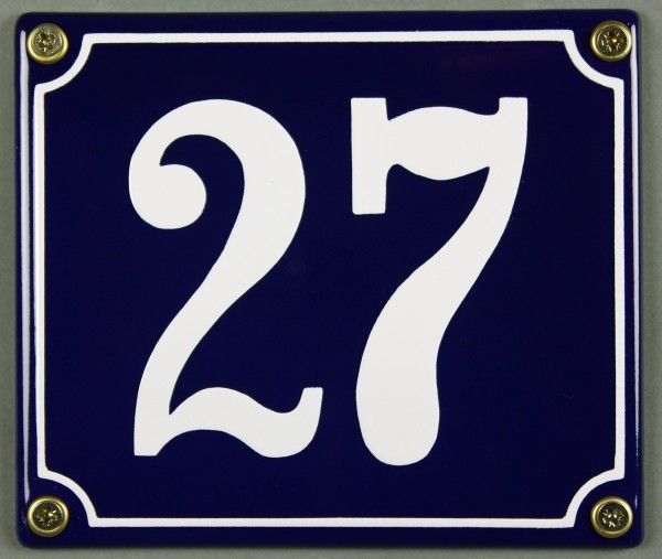 Hausnummernschild Emaille 27 blau - weiß 12x14 cm sofort lieferbar Schild Emaile Hausnummer Haus Num