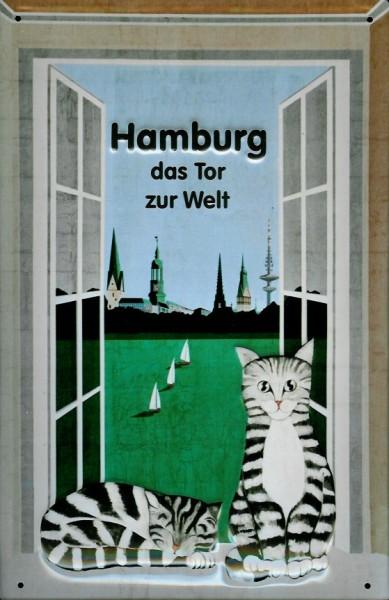 Blechschild Nostalgieschild Hamburg das Tor zur Welt Katze im Fenster