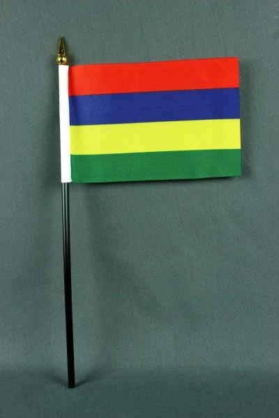Kleine Tischflagge Mauritius 10x15 cm optional mit Tischfähnchenständer