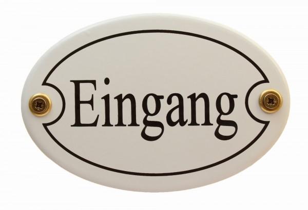 Emaille Türschild Eingang weiss oval Schild