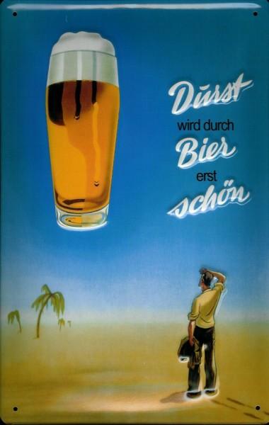 Blechschild Durst wird durch Bier erst schön Schild Mann in Wüste