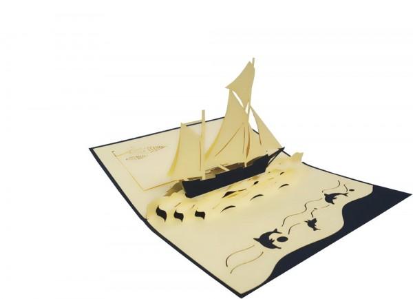 3D Pop-Up Karte Segelboot Schiff blau