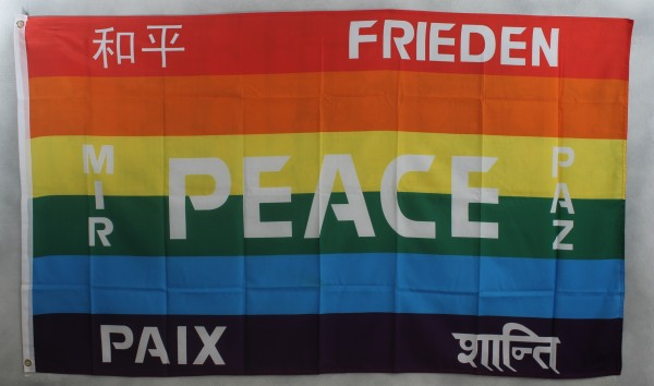 Flagge Fahne : Regenbogen PEACE