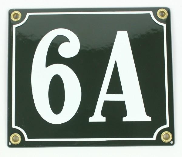 6A grün Clarendon 12x14 cm sofort lieferbar Schild Emaille Hausnummer