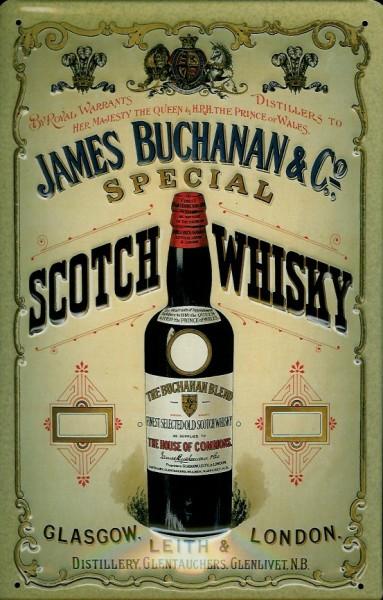 Blechschild James Buchanan & Co Glasgow Scotch Whisky Schild retro Werbeschild