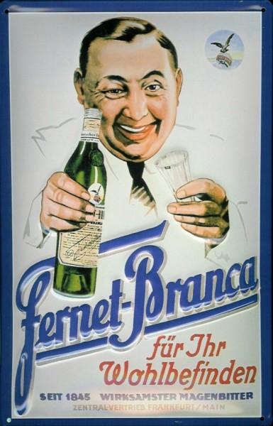 Blechschild Fernet Branca Wohlbefinden Magenbitter Schild retro Nostalgie Werbeschild