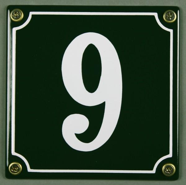 Hausnummernschild 9 grün 12x12 cm sofort lieferbar Schild Emaille Hausnummer Haus Nummer Zahl Ziffer
