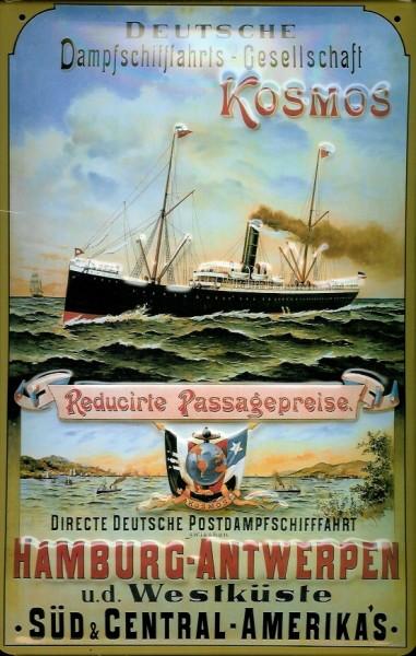 Blechschild Hamburg Antwerpen Postdampfschiffahrt Dampfer Schiff Schild Nostalgieschild