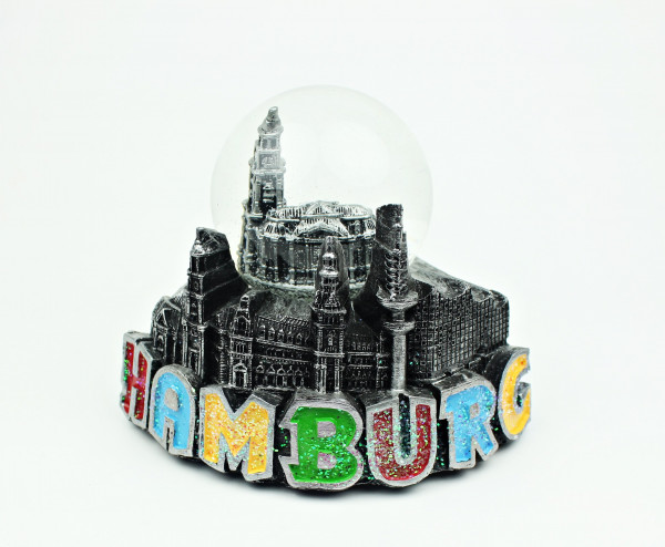 Schneekugel mit Hamburg Michel Michaeliskirche Metall-Optik Schüttelkugel Glitzerkugel Andenken