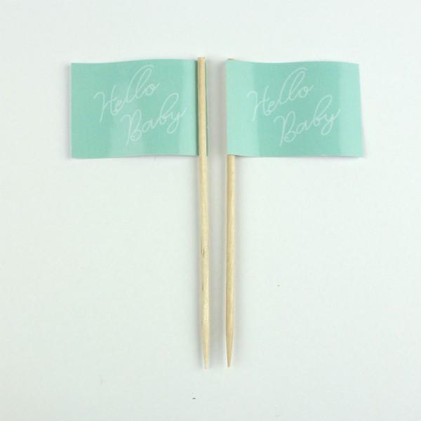 Party-Picker Flagge Hello Baby Mintgrün Papierfähnchen in Spitzenqualität 50 Stück Beutel