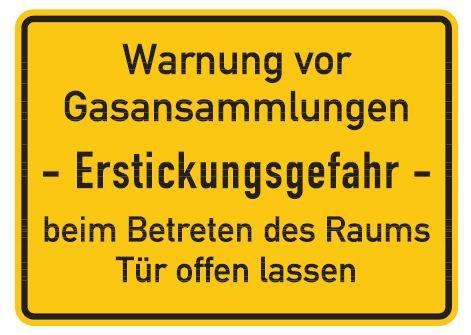 Aluminium Schild Warnung vor Gasansammlungen - Erstickungsgefahr - beim Betreten des Raums Tür offen