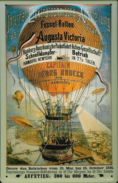 Blechschild Nostalgieschild Hapag Fesselballon Heissluftballon Gasballon