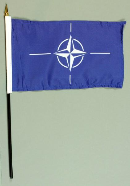 Tischflagge NATO 15x25 cm BASIC optional mit Tischflaggenständer