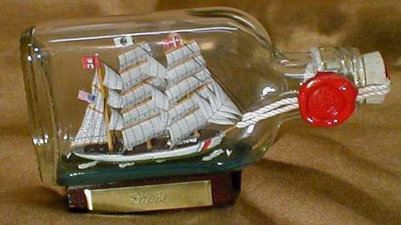 Eagle USA Coastguard Buddelschiff Flachmann 0,1 Liter ca. 13x7 cm Buddelschiff Flaschenschiff