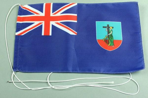 Tischflagge Montserat 25x15 cm optional mit Holz- oder Chromständer Tischfahne Tischfähnchen
