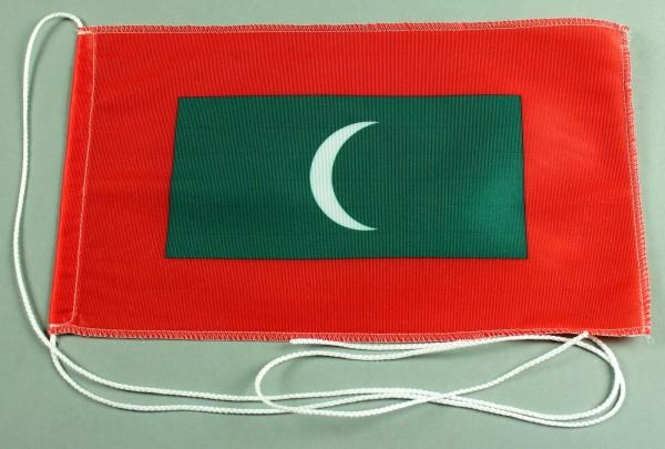 Tischflagge Malediwen 25x15 cm optional mit Holz- oder Chromständer Tischfahne Tischfähnchen