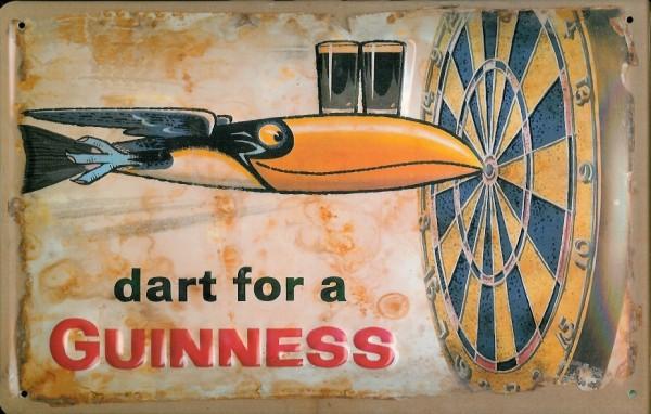 Blechschild Guinness Bier Dartbord Toucan Dart Pfeil retro Schild Werbeschild