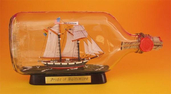Pride of Baltimore Buddelschiff Flachmann 0,375 Liter ca. 21x9 cm Buddelschiff Museumsqualität