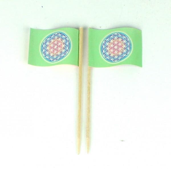 Party-Picker Flagge Blume des Lebens grün bunt