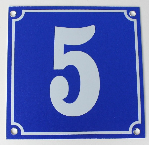 Hausnummernschild Aluminium Aluschild 1 mm Stärke Alu Schild Nr. 5 blau