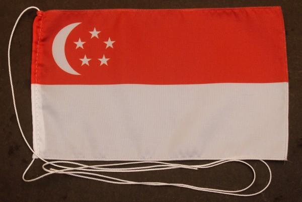 Tischflagge Singapur 25x15 cm optional mit Holz- oder Chromständer Tischfahne Tischfähnchen