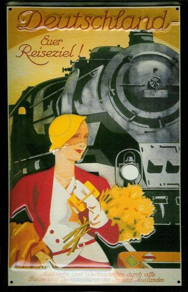 Blechschild Nostalgieschild Deutschland Euer Reiseziel Eisenbahn