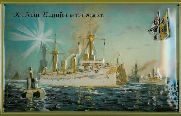 Blechschild Kaiserin Augusta Kriegsschiff Dampfer vor New York Schiff Schild Nostalgieschild
