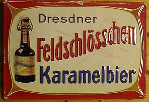 Blechschild Dresdner Feldschlösschen Karamelbier Bier Dresden Schild retro Werbeschild