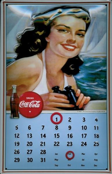 Blechschild Coca Cola Segel Magnet Kalender retro Schild Dauerkalender