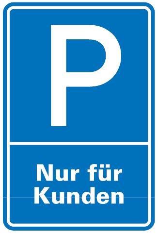 Aluminium Schild Parkplatz P Kunden 600x400 mm Alu 0,6 mm geprägt für Wandmontage