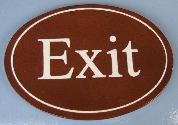 Ovales Holz - Türschild Exit 7x10 cm dunkles Holzschild