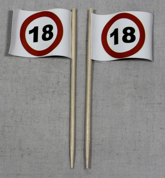 Party-Picker Flagge Tempo 18 Verkehrszeichen Papierfähnchen in Spitzenqualität 50 Stück Beutel