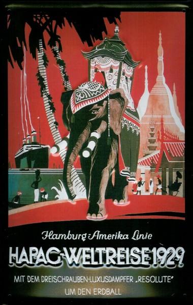 Blechschild Hapag Weltreise 1929 Kreuzfahrt Elefant Dampfer Schiff Schild Nostalgieschild