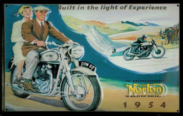 Blechschild Norton Motorrad Berge 1954 Nostalgieschild Schild