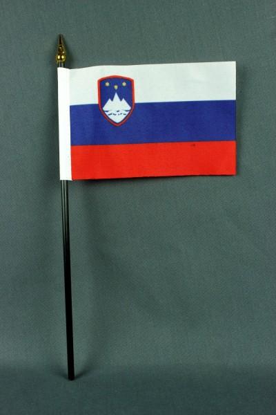 Kleine Tischflagge Slowenien 10x15 cm optional mit Tischfähnchenständer