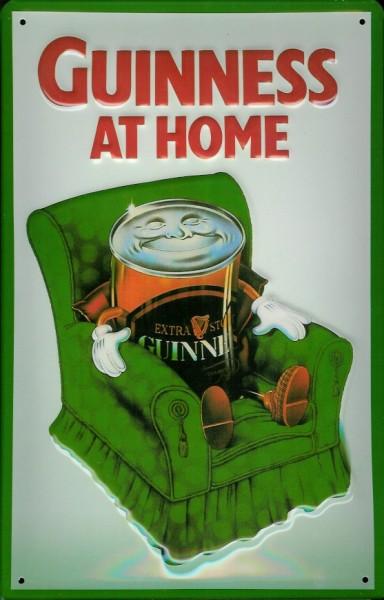 Blechschild Guinness Beer At Home Bierdose grüner Sessel Schild nostalgisches Werbeschild