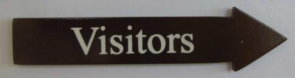 Türschild Visitors dunkles Holz Pfeilform 3,5x15 cm