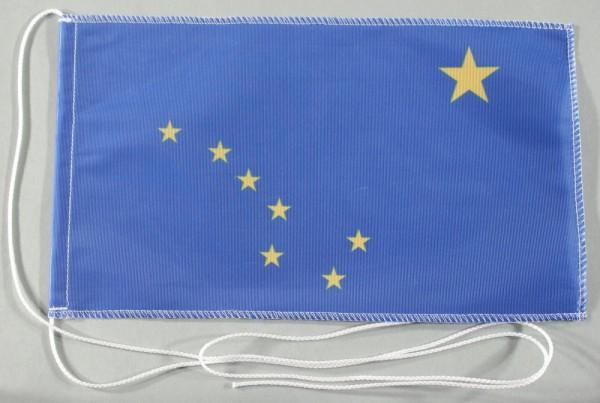 Tischflagge Alaska USA Bundesstaat US State 25x15 cm optional mit Holz- oder Chromständer Tischfahne